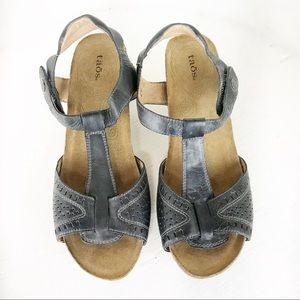 Taos Charcoal Sandals with Wood Heels